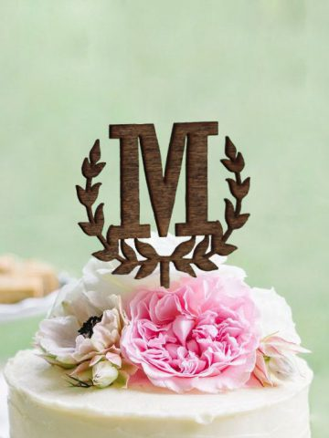 Wedding monogram cake topper