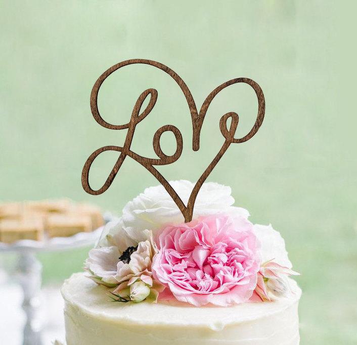 Love Rustic Cake Topper