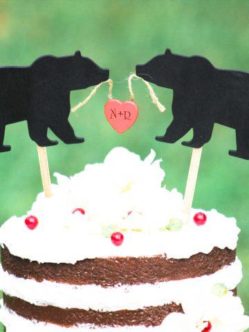Black Bear Personalized Cake Topper