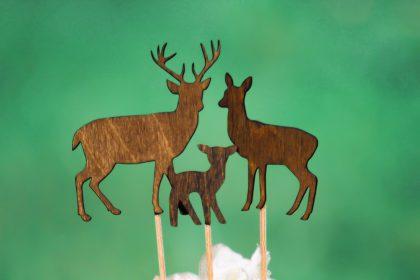 Deer Family Cake Topper